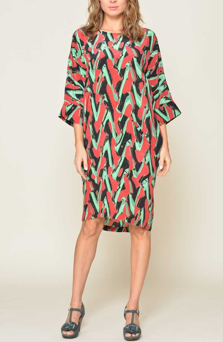 Rachel Comey Wades Dress In The Amazing Waves Print Silk Made Nyc