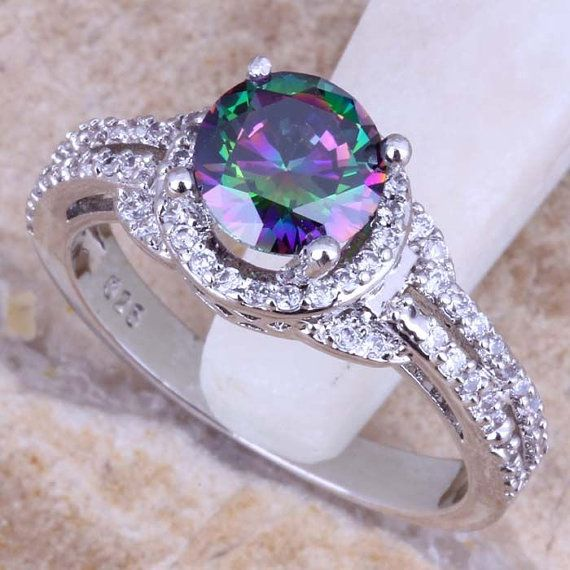 Precious Rainbow Fire Mystic Topaz White 925 Sterling Silver Ring Wedding Jewelrywedding Ringswedding