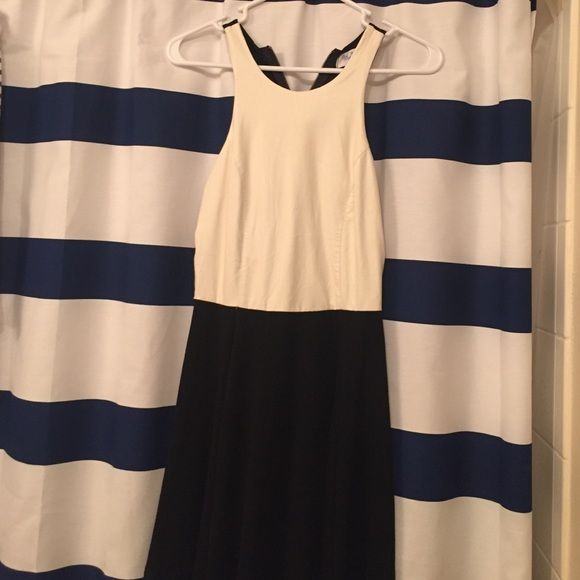 Fake leather dress From a boutique called bluetique. The front top white is fake leather. Perfect for going out. No pilling. Only worn once. Dresses Mini