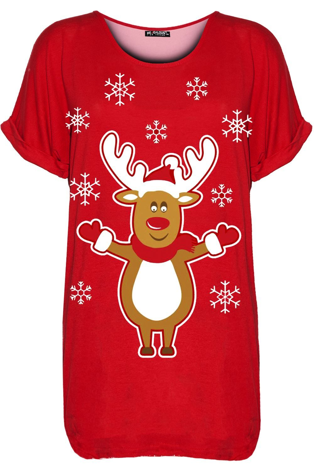 Ladies Womens Rudolph Snow Falling Batwing Xmas Oversize Christmas Baggy T Shirt