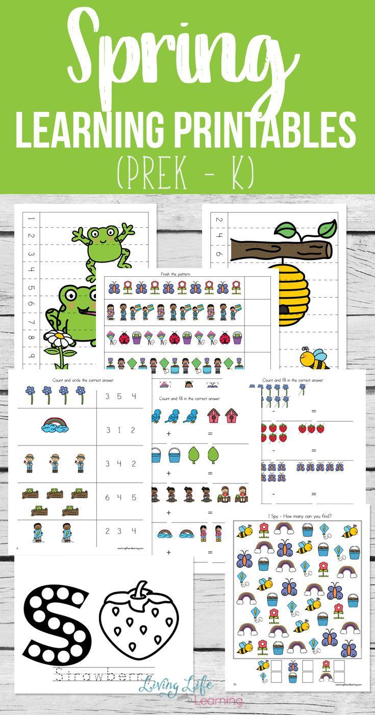 Spring Learning Printables   Subtraction worksheets, Kindergarten ...