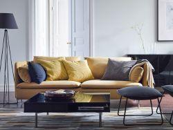 Soggiorno moderno con divano SÖDERHAMN giallo, poltrona e ...