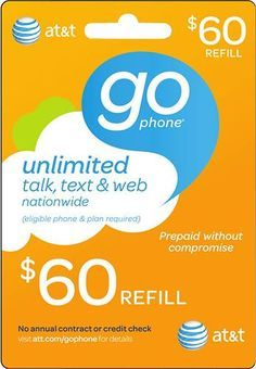 60 att gophone prepaid wireless airtime card giftcardshunterscom - Prepaid Cell Phone Cards