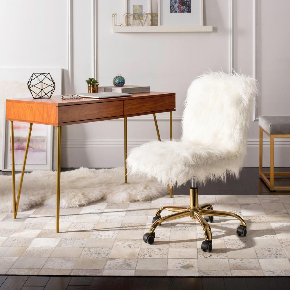 Tremendous Safavieh Whitney White Gold Faux Sheepskin Swivel Office Ibusinesslaw Wood Chair Design Ideas Ibusinesslaworg