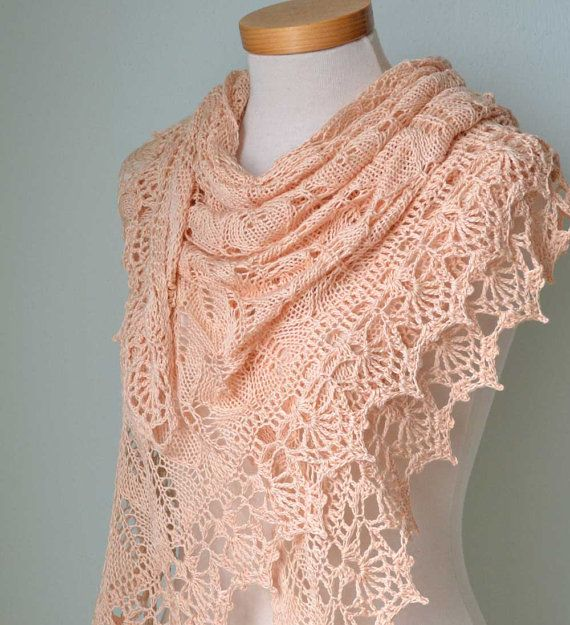 Crochet Lace Wedding Shawl Pattern : Peach lace knitted cotton shawl with lace crochet border ...