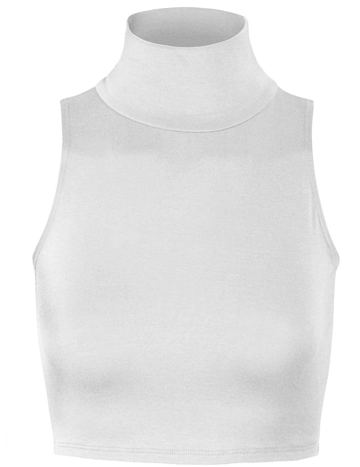 bcd3109dfcf88 KOGMO Women s Lightweight Fitted Sleeveless Turtleneck Crop Top With  Stretch-M-White at Amazon Women s Clothing store
