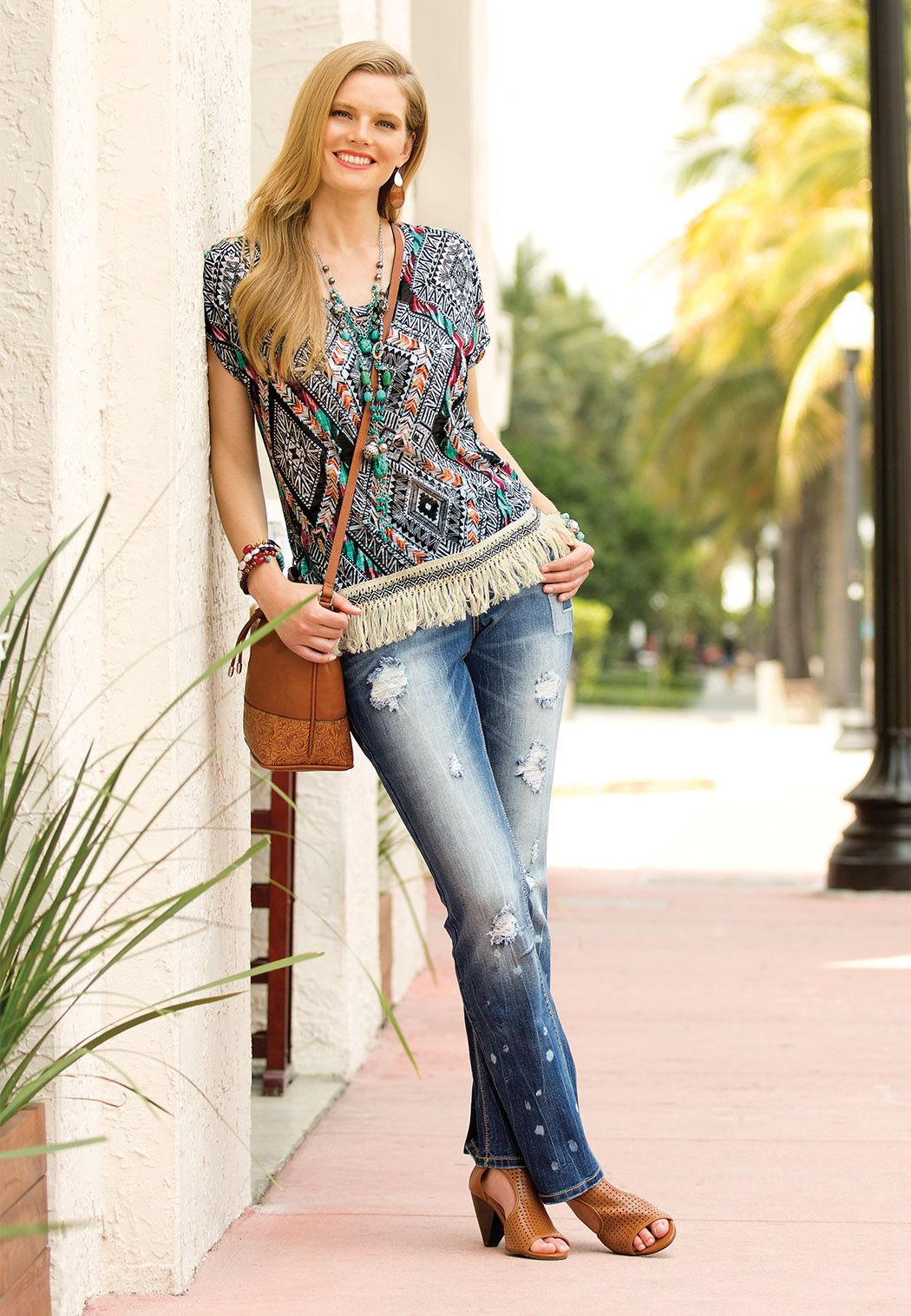 Daring and fashionable - jeans with holes 46