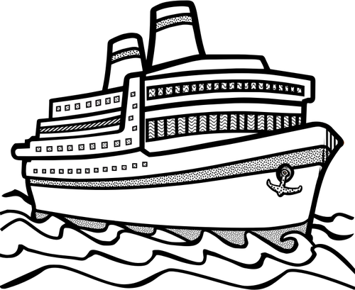 Line Art Vector Drawing Of Large Cruise Ship
