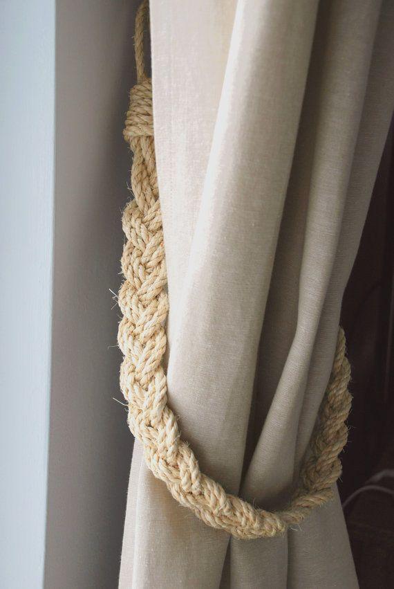 Rustic Natural Sisal Rope Curtain Tiebacks By Andreacookinteriors