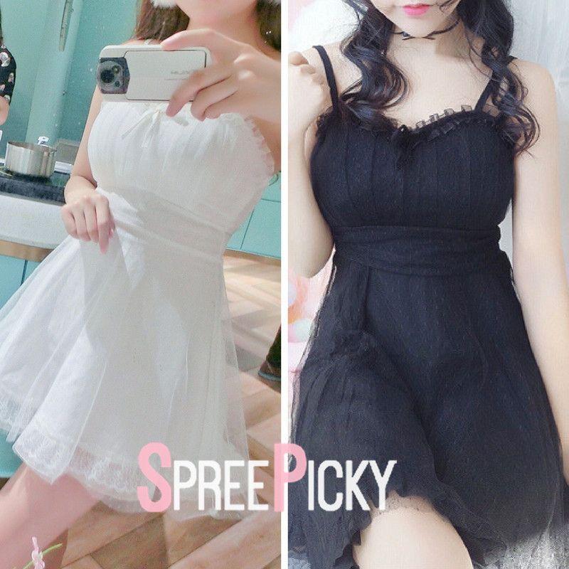 8ae212e4f851 White/Black Fresh Suspender Tulle Dress SP179622   New Arrival ...