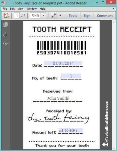 Free Tooth Fairy Receipt Template Editable Tooth Fairy Receipt Tooth Fairy Teeth