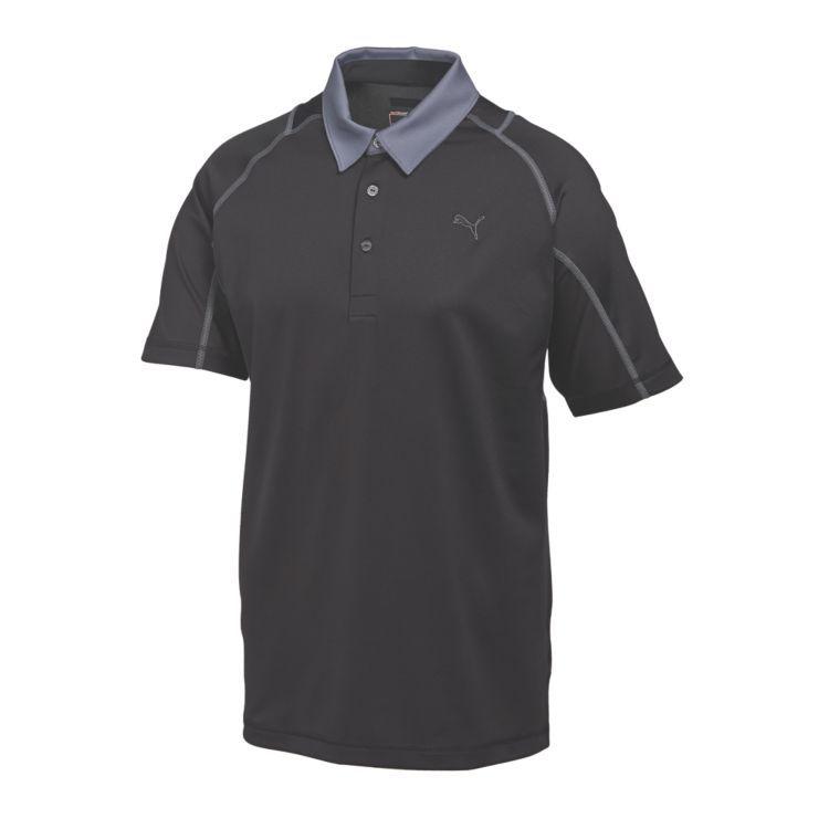 Puma Titan Tour Mens Golf Polo Black Folkstone Gray