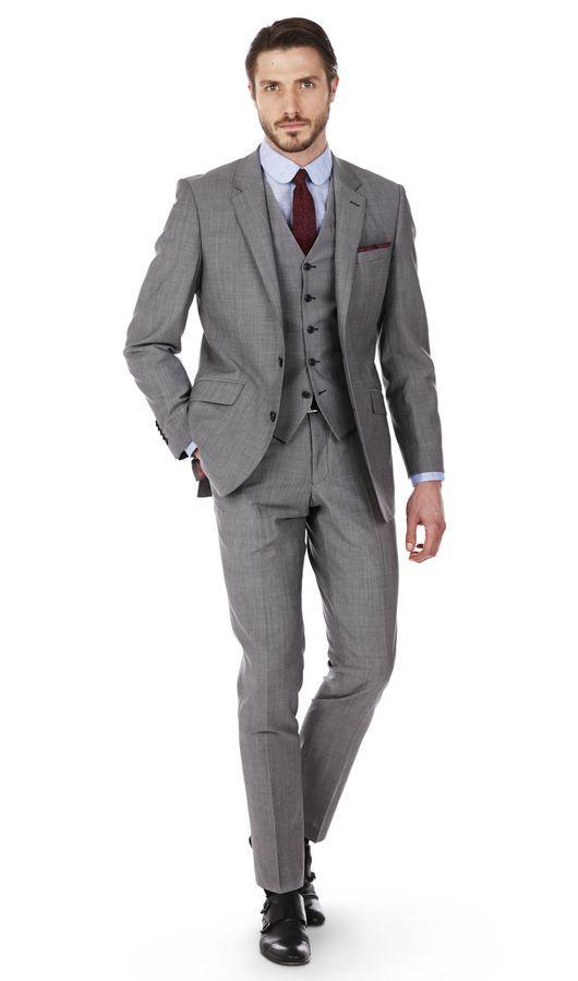 T.M.Lewin Men/'s Suit Trousers Pants Samuel Slim Fit in Blue Modern Birdseye Wool
