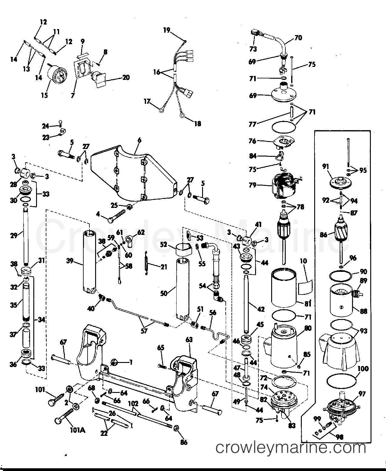 Power Tilt And Trim 50 Hp 1974 Rigging Parts Accessories Diagram Power House Wiring
