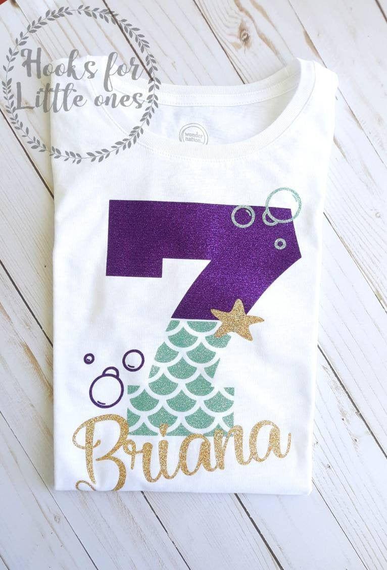 Mermaid birthday girl shirt. Mermaid birthday shirt