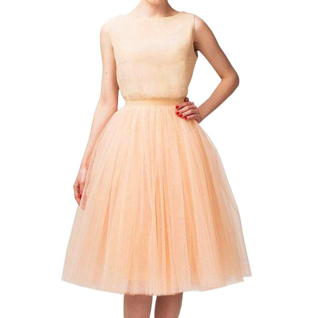 Wedding Planning Womens A Line Short Knee Length Tutu Tulle Prom Party Skirt