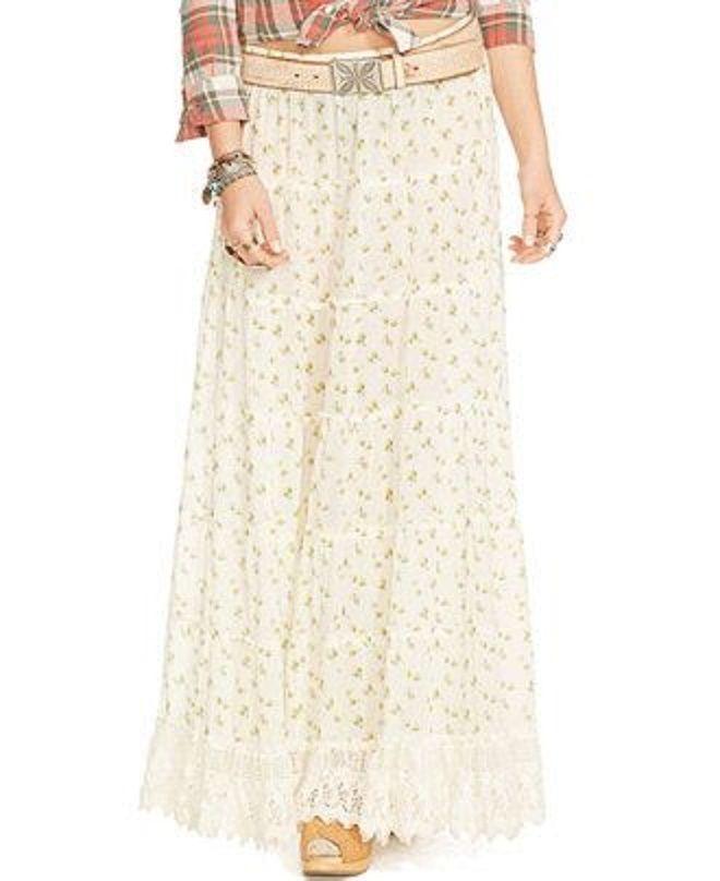 867e78a0d0e NWT Denim   Supply Ralph Lauren XL Crochet Lace Trim Maxi Skirt Prairie  Boho  DenimSupplyRalphLauren  Tiered