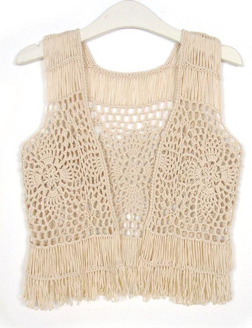Crochet Fringed Vest Pineapple Lace Tank Top door Tinacrochetstudio ...