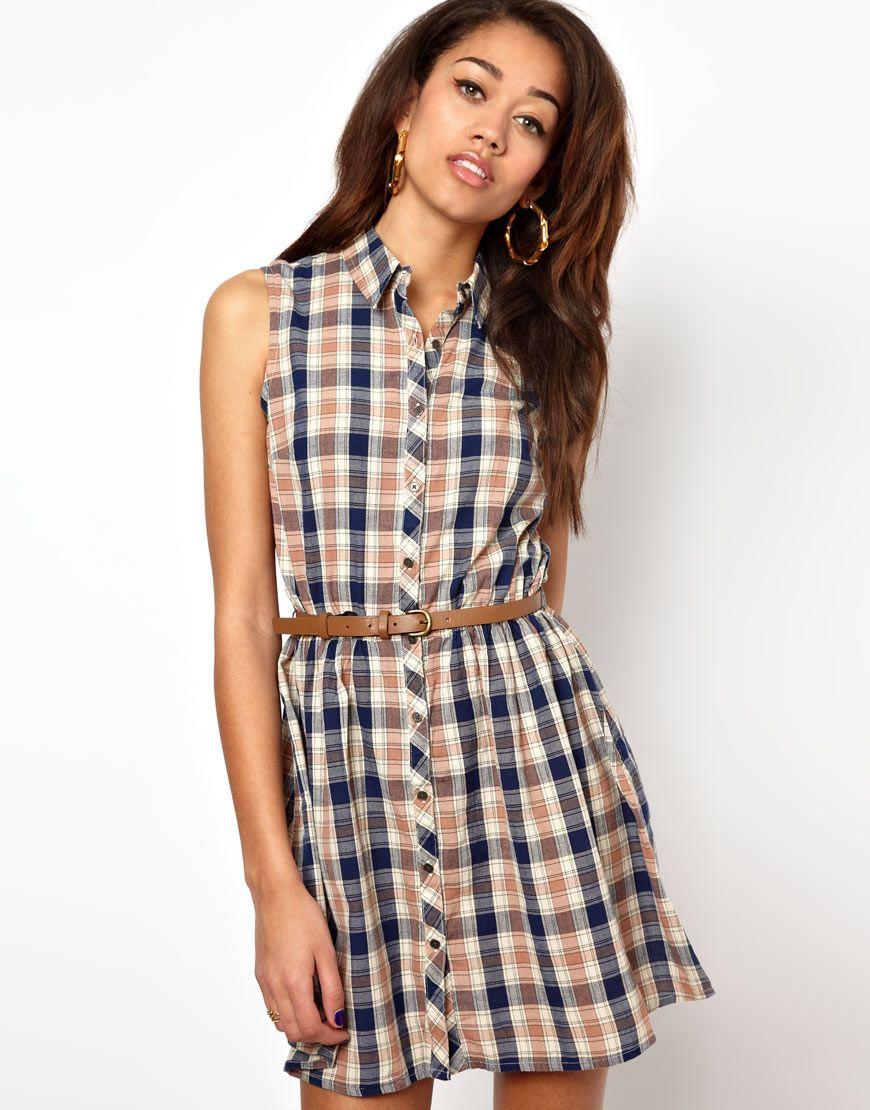 River Island Chelsea Girl Sleeveless Check Shirt Dress | Pretty ...