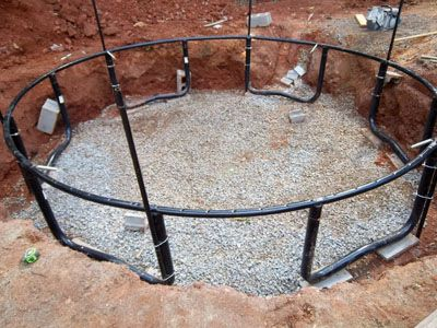 In ground trampoline with drainage system atlanta for How to put a trampoline in the ground