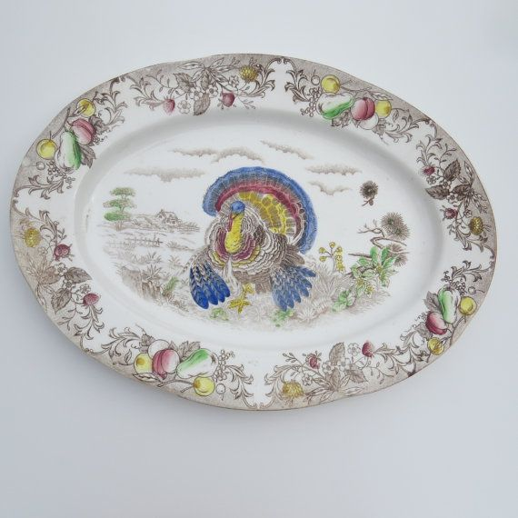 Vintage 1950s Turkey Platter Brown Multicolored Transferware Oval Serving Platter Thanksgiving Fall Decor Turkey Platter Platters Collectible Dishes