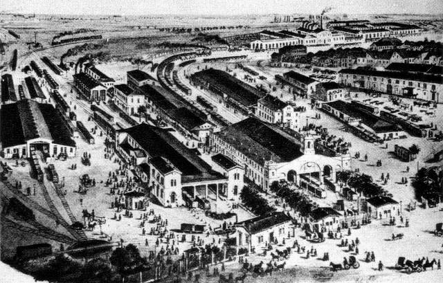 Leipzig (um 1862) - Thüringer, Magdeburger und Dresdner Bahnhof (v.l.n.r.)