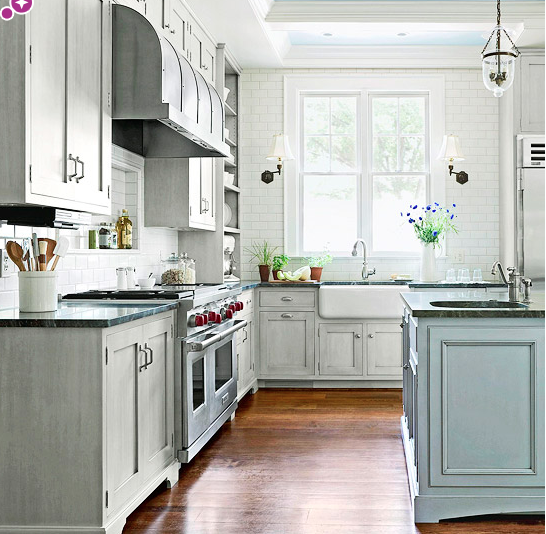 Lightly distressed grey cabinets.   Low cost kitchen ...
