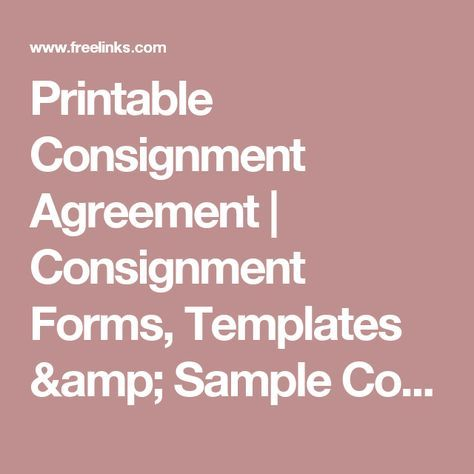 Printable Consignment Agreement Consignment Forms, Templates