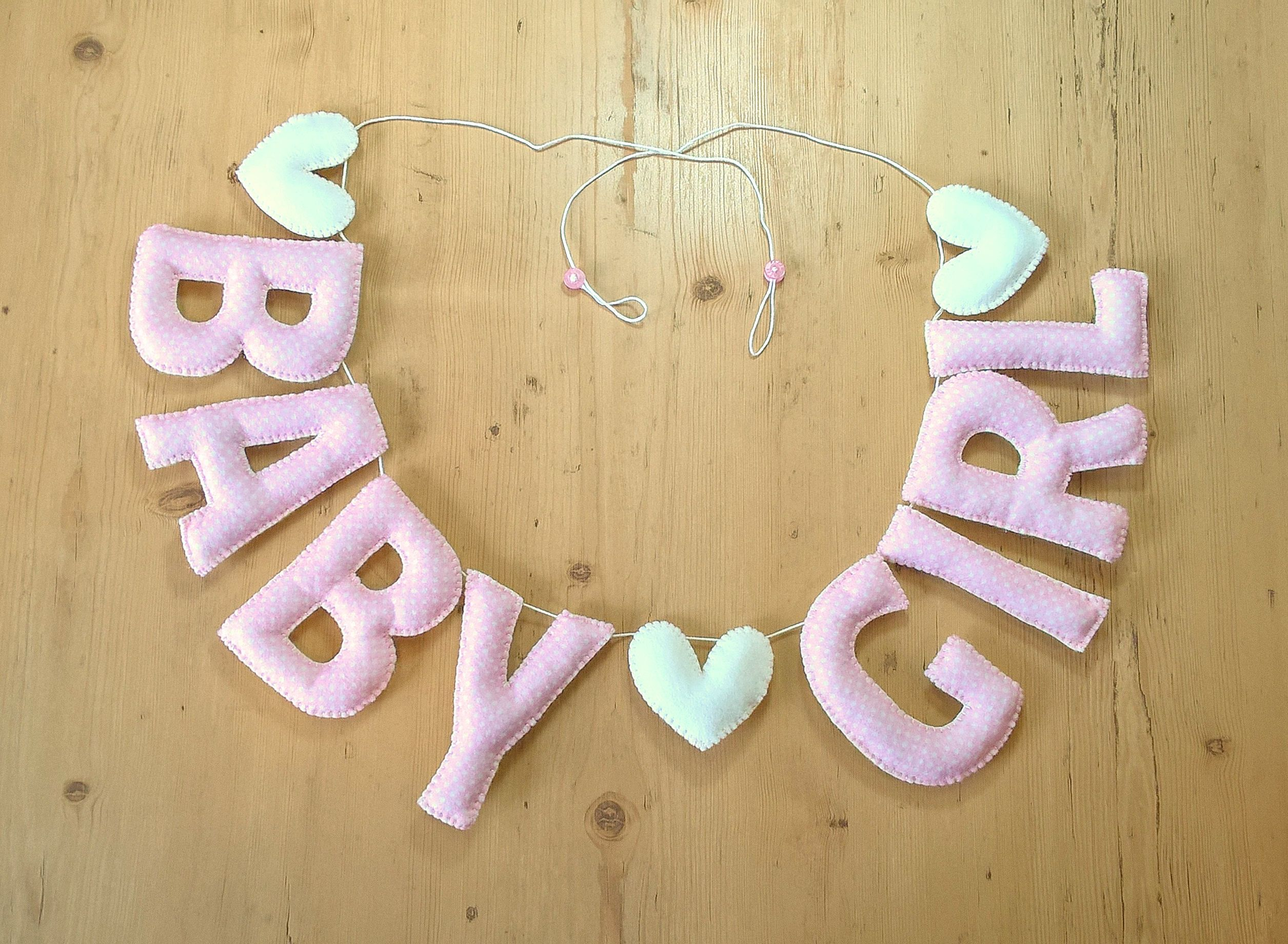 Handmade \'BABY GIRL\' Felt Letters, Nursery Garland. Baby pink ...