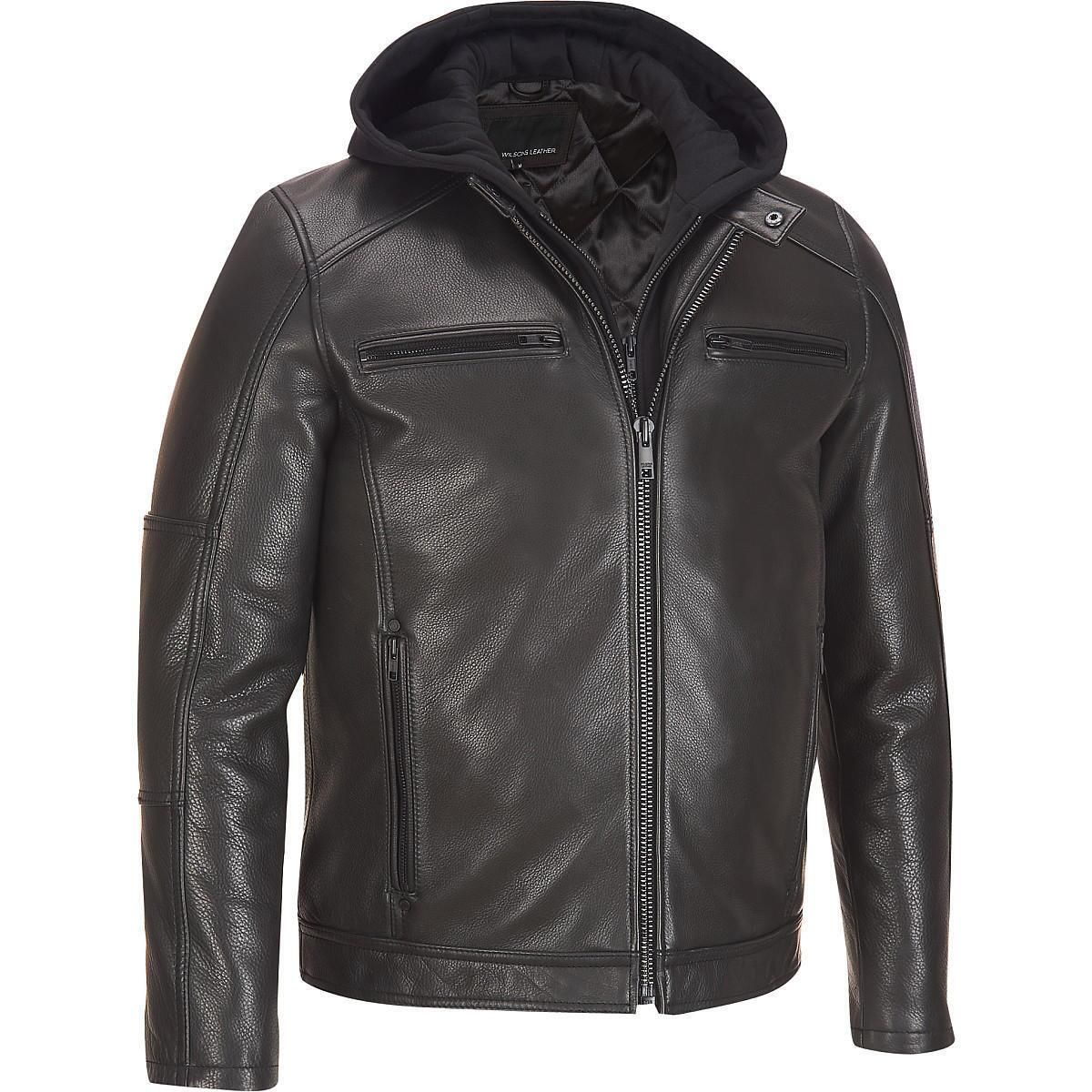 Wilsons Leather Contemporary Leather Jacket w/ Hood 1