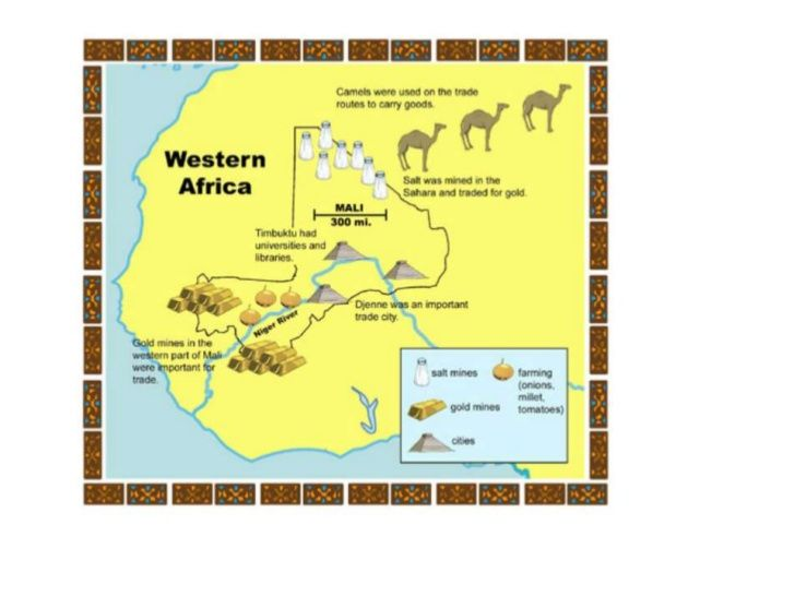 This is a map showing the abundance of Mali\'s salt and gold mines ...