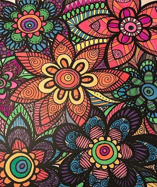 ColorIt Colorful Flowers Volume 1 Colorist Megan Weins Adultcoloring Coloringforadults Adultcoloringpages