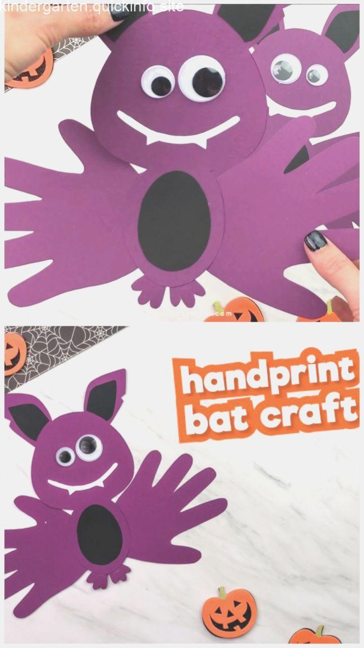 Handprint Bat Craft For Kids #octobercraftsforkids