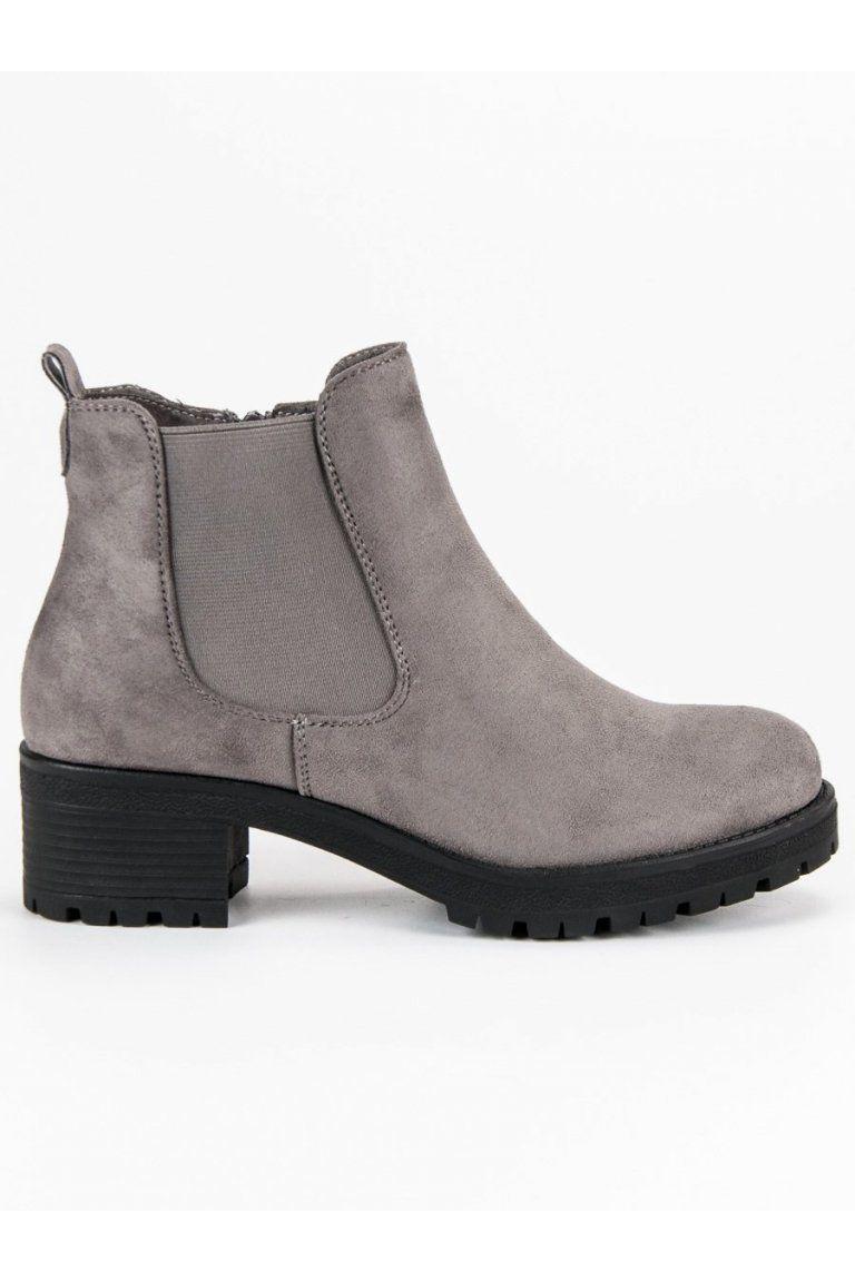 044b7b69da Šedé pérka členkové topánky Ideal Shoes