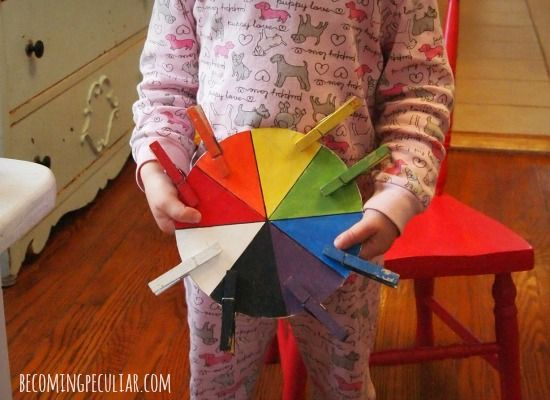 Clothespin colour wheel matching game 14 DIY Montessori Inspired