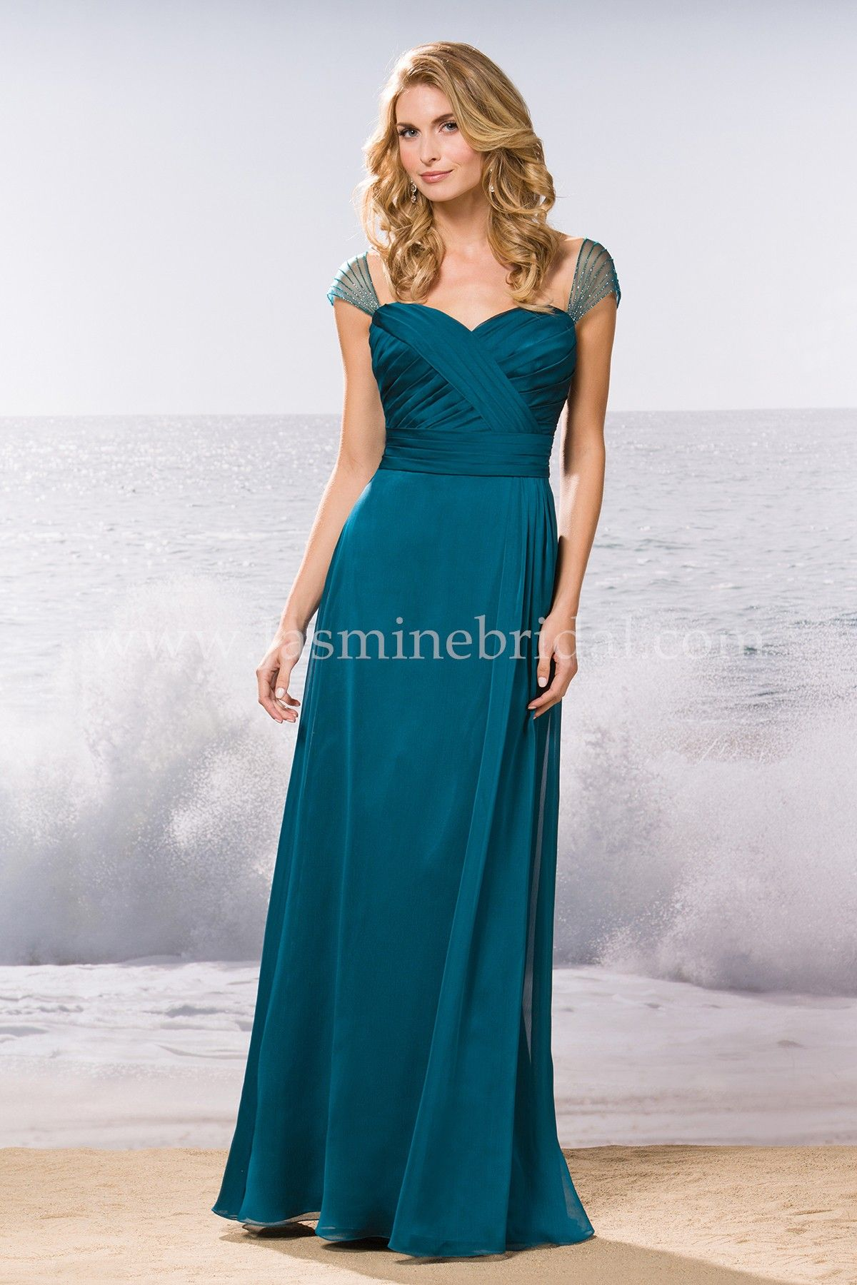 316ed2be6f3cf Jasmine Bridal Bridesmaid Dress Belsoie Style L174055 in Teal // An elegant  and stylish choice for bridesmaids of any bridal party, this Teal bridesmaid  ...