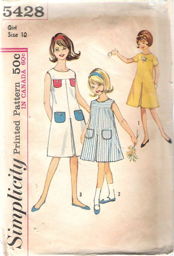 Vintage 1964 Simplicity 5428 Girls' One Piece by Recycledelic1