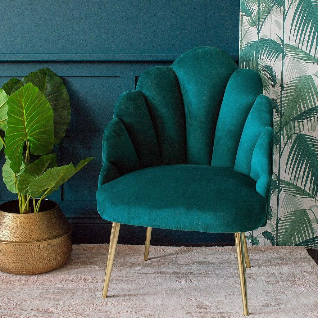 Sienna Teal Velvet Shell Chair Scalloped Cocktail Chair Audenza Tealbedroom In 2020 Teal Living Rooms Teal Living Room Decor Teal Decor #teal #chairs #for #living #room