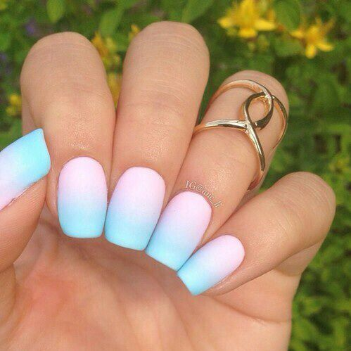 Ombre Baby Blue Pink Nails Ombre Nail Art Designs Nail Art Ombre Pastel Nails