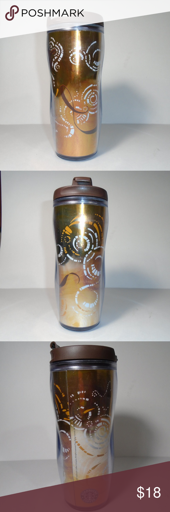 2009 Starbucks Copper Gold Ombre Travel Mug Cup (With