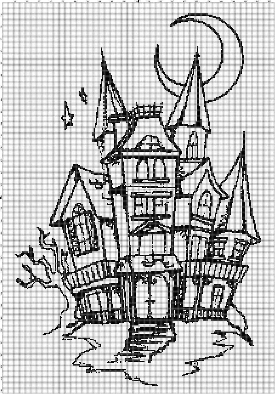 Handmade Halloween Haunted House Silhouette PDF Cross-Stitch Pattern ...