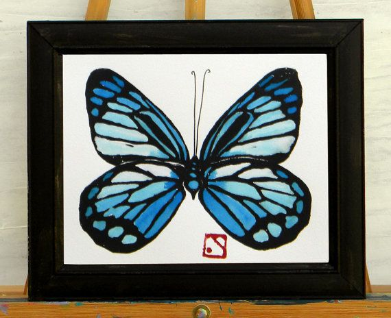 Blue Butterfly Original 11x10 Monoprint  Joyful by HammerandCoil, $40.00