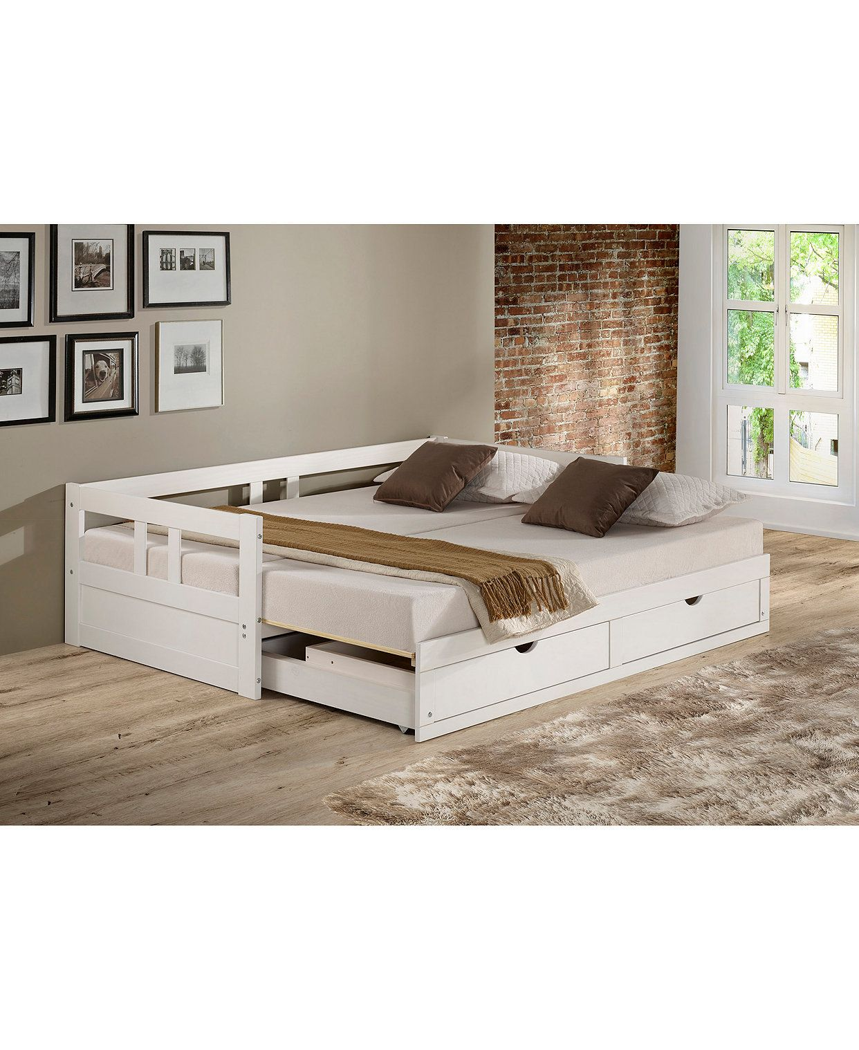 Melody Twin To King Trundle Daybed With Storage Drawers Daybed With Storage Daybed With Trundle Alaterre Furniture Daybed that converts to king