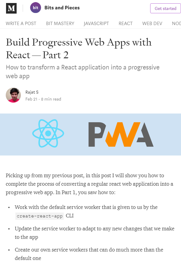 Build Progressive Web Apps with React — Part 2 Web app