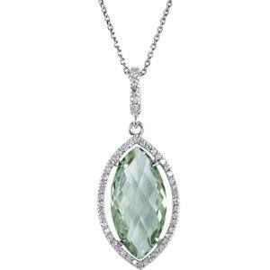 Green Quartz and Diamond Necklace #Jewelry #Delco