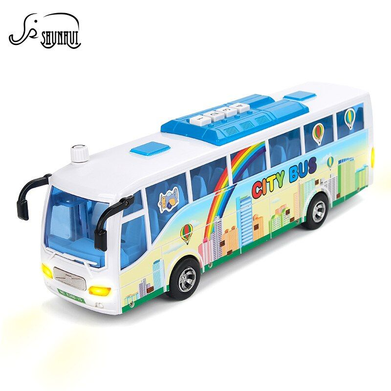 Electronic Simulation City Bus Model Plastic Baby Toys Kids Diecast Vehicle Car Light Sounds Educational Toy Gift F Plastic Babies Educational Toys Toys Gift