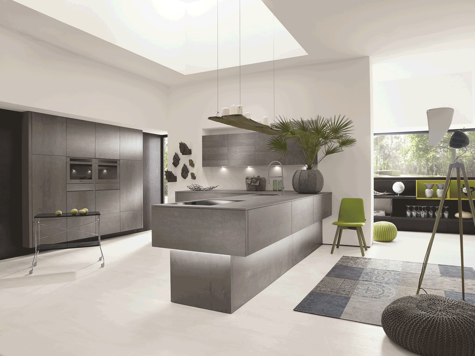 Alno Concretto kitchen with a ceramic concrete-effect finish, price ...
