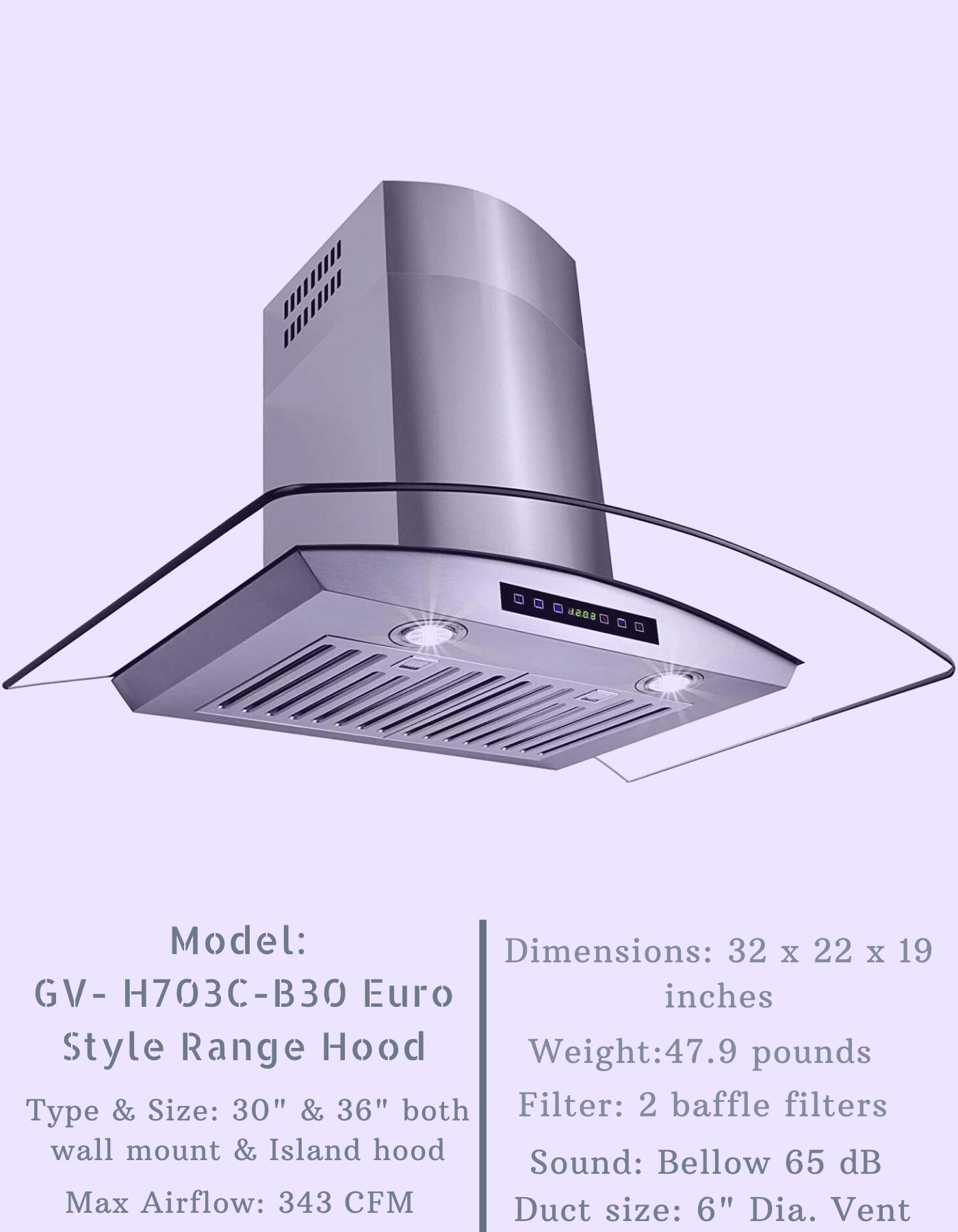Golden Vantage H703c B30 Euro Style Range Hood In 2020 Range Hood Reviews Range Hoods Euro Style