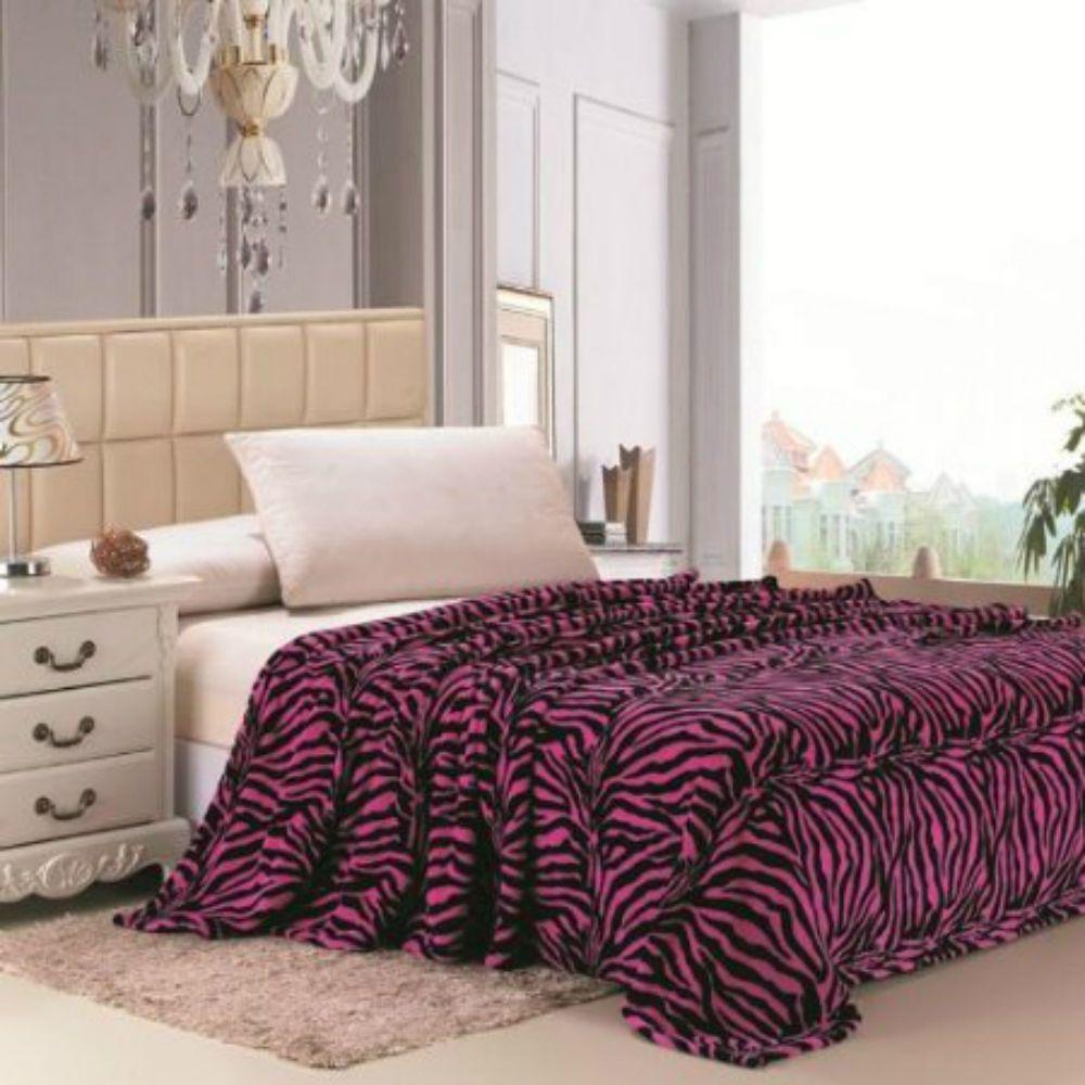 Animal prints blanket pink and black bedding throw fleece queen