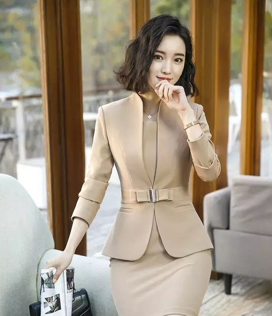 Blazer con vestido de las mujeres 2018 nuevo primavera Otoño de manga larga  Formal Oficina abrigo dfcffd4b668e